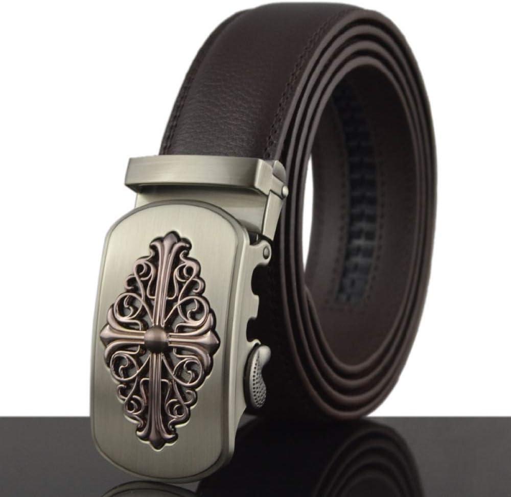 DENGDAI Mens Belt Leather Mens Automatic Buckle Belt Length 110-130cm