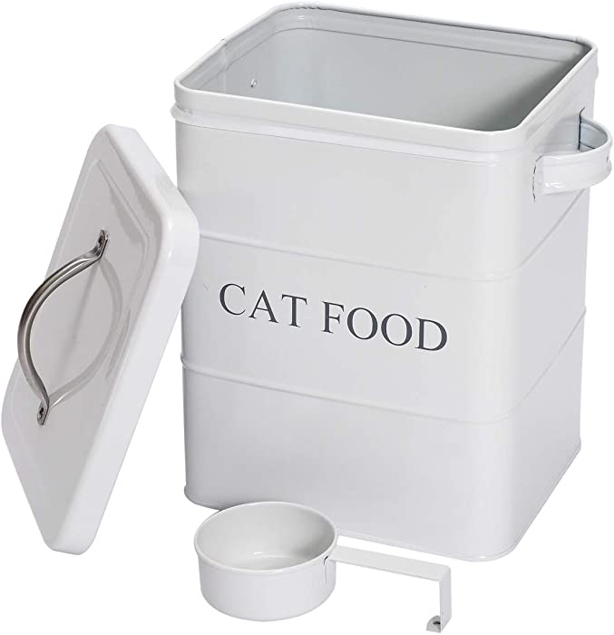 Morezi Pet Treat and Food Storage Tin with Lid and Scoop - White Vintage Farmhouse - Carbon Steel - Tight Fitting Lids - Storage Canister Tins