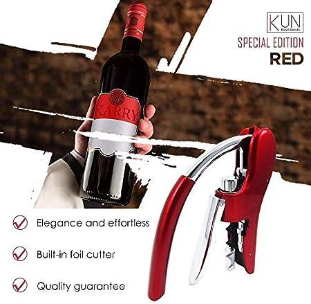 AYCPG Sacacorchos Profesional de aleación de Zinc de energía abrelatas del Vino abrelatas del sacacorchos Incorporado en la Prima del sacacorchos del Vino lucar (Color : Metallic Red)