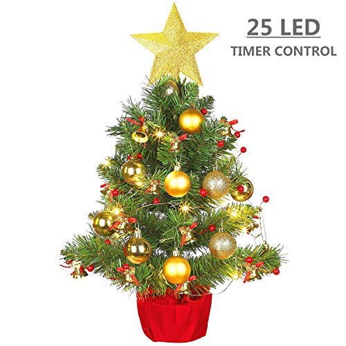 MAOYUE Tabletop Christmas Tree, 20 Inch Artificial Christmas Tree Battery Operated Lighted Mini Christmas Tree with 8 Mode LED Light for Christmas Decorations, Home Décor, Kitchen, Dining Table (Tabletop Christmas Pre Tree Decorated)
