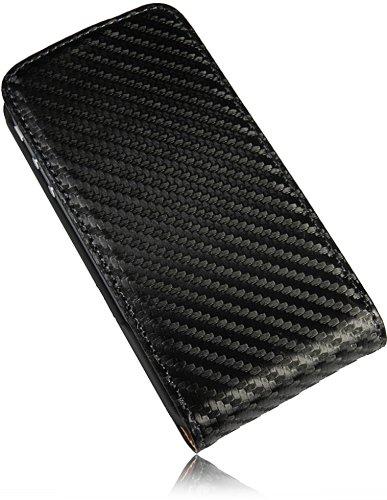 Für Apple Iphone 4 4S Ultra Dünn FlipCase Premium PU Leder Case Vertikaltasche Handytasche Flipstyle Schutzhülle mit integrierten DisplaySchutz in Slim Design in Carbon Look