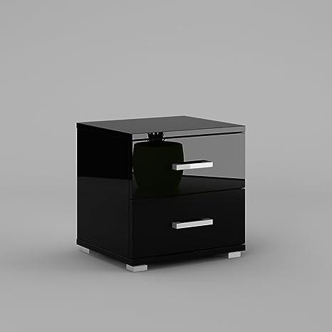 Comodino Nero Lucido.Labi Furniture Neli N2 Comodino Comodino Con 2 Cassetti