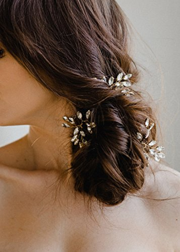 Price comparison product image Missgrace 3pcs Bridal Gold Leaf Crystal Hair Pins-Women Hair Accessory for Wedding and Party