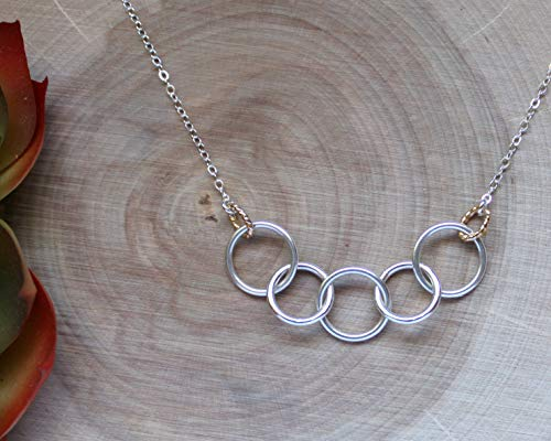 Efy Tal Jewelry Happy 50th Birthday Gifts for Women Necklace, Sterling Silver 5 Rings Five Decades Necklaces Gift Ideas by Efy Tal Jewelry (Image #2)