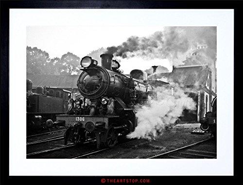 VINTAGE PHOTO STEAM TRAIN BLACK WHITE ENGINE FRAMED PRINT F97X6476 (Vintage Train Pictures)