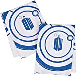 #9: Doctor Who Kitchen Towels 100% Cotton Set of 2 - Perfect Oven Door Hanging Hand Towels - Dr. Who TARDIS Logo and Gallifreyan Design - Size 18