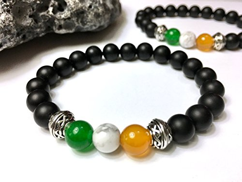 Men's Irish Flag Bracelet with Celtic Knot Accents - Onyx, Jade, Agate, Howlite Stone - Unique Gift for Irish Pub Lover or Irish Traveler - Stone Stretch ()