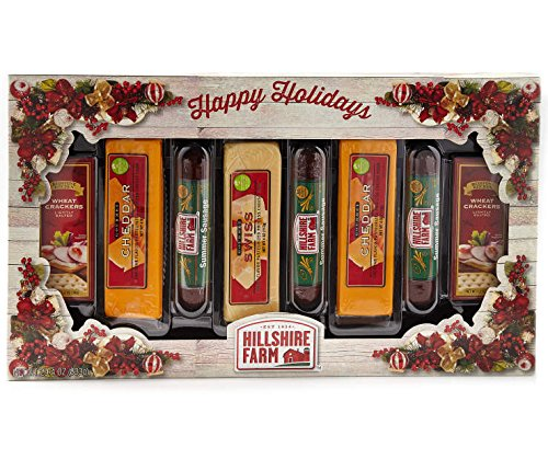 Hillshire Farm Meat, Cheese and Crackers Holiday Gift Set Summer Beef Sausage, Happy Holidays Gift Set, Perfect for Gift Giving and Hostess House Warming Gifts (Boxes For Cheese Christmas)