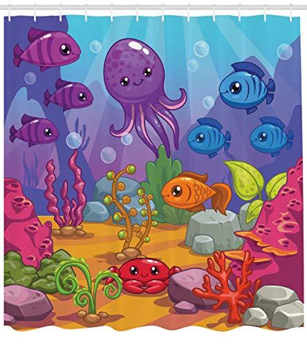 Ambesonne Whale Decor Collection Underwater World Aquarium Cartoon Octopus Reef Sand Seaweed Stones Bubbles Design Polyester Fabric Bathroom Shower Curtain Set with Hooks Purple Blue Orange