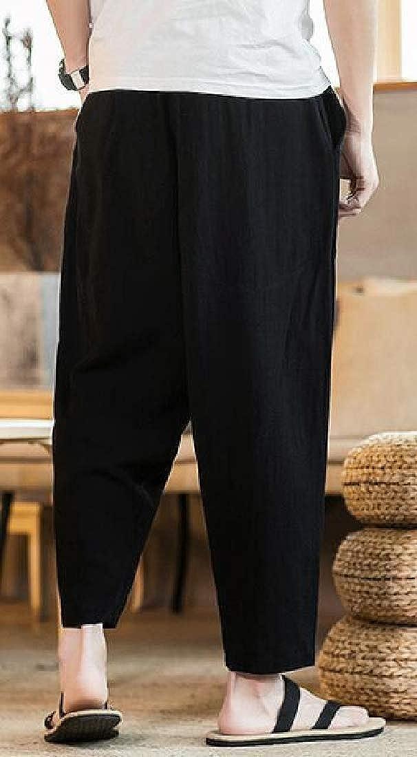 ARTFFEL Men Plain Casual Loose Fit Chinese Style Cotton Linen Harem Pants