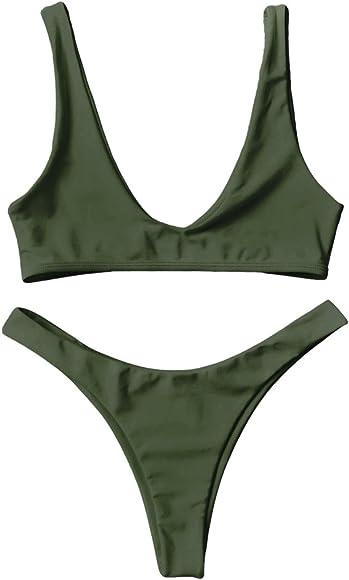 52f42661bb Amazon.com: DressLily High Cut Scoop Neck Bikini Set,Army Green,S ...