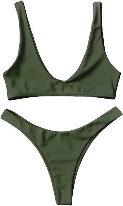 15a88c5549 Amazon.com  DressLily High Cut Scoop Neck Bikini Set