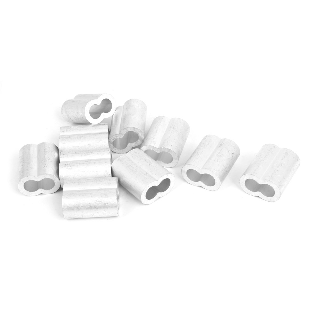 uxcell 10mm 3/8'' Wire Rope Aluminum Sleeves Clip Fittings Cable Crimps 10 Pcs