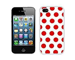 iphone 4S Cases,iphone 4 Case,Colorful Hbrid With Dot Case Cover Protector For iphone 4 4S,Polka Dot White and Red iPhone 4 4S Case White Cover