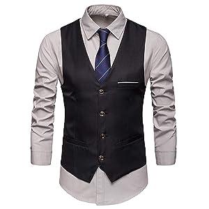 Crownbee ジレ ベスト メンズ カジュアル ビジネス 結婚式 紳士 スーツベスト スリム スーツ仕立て 尾錠付き c121 (XXXL, C-ブラック)