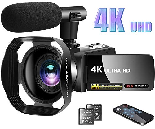 Video Camera 4K Camcorder with Microphone Vlogging Camera YouTube Camera Recorder Ultra HD 30MP 3.0″ IPS Touch Screen with Lens Hood & 2 Batteries