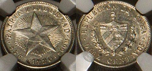 1920 CU Star Cuba pre-revolution 10 centavos NGC UnCirculated NGC