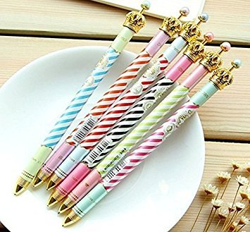 ONOR-Tech Set of 6 Lovely Cute Crown Design Ballpoint Pen Ball Pen for School, Office, Family use