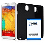 Note 3 Battery,TQTHL Samsung Galaxy Note 3 7600mAh Best Replacement Extended Battery + Black Back Cover + HoneyComb TPU Case - Black [ 24 Month Warranty ]