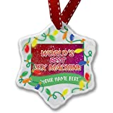 Personalized Name Christmas Ornament, Worlds best Sex Machine, happy sparkels NEONBLOND