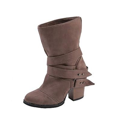 JiaMeng Zapatillas Moda Botines Botas Militares Altas Mujer Botas Sobre la Rodilla Botas Planas Atractivas Zapatos Botas Zapatos de Ocio: Amazon.es: Ropa y ...