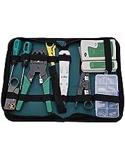 Kit de herramientas de servicio de red, 11 en 1 Herramientas de mantenimiento de cables de red Probador de cables para RJ11, RJ45 para hogar, oficina, laboratorio, dormitorio, taller de reparación.