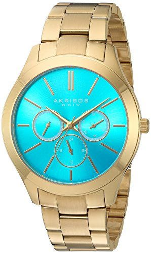 Akribos XXIV Women's Multi-Function With Turquoise Sunray Dial and Gold-Tone Stainless Steel Bracelet Watch AK952YGTQ