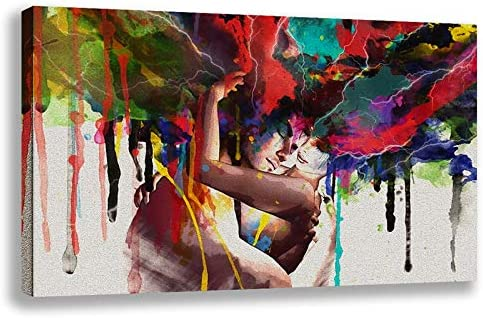 Orlco Art Posters Prints Wall Art Canvas Painting Abstract Couple Huging Wall Picture