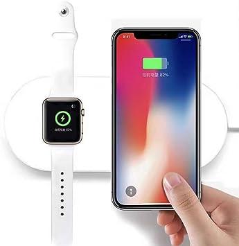 FACEVER 2 en 1 Almohadilla de Carga inalámbrica Qi [Apoyo de Carga rápida] Compatible con Apple Watch Series 432, iPhone X 8 8 Plus, Samsung S8 S7