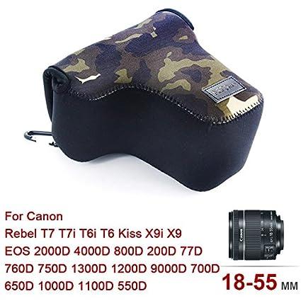 /étui pour Canon EOS Rebel T7 T7i T6i T6 Kiss X9i X9 EOS 77D 760D 750D 1300D 1200D 9000D 700D 650D 1000D 1100D 550D avec Lens 18-55mm QSL-SLRS-C-CB06