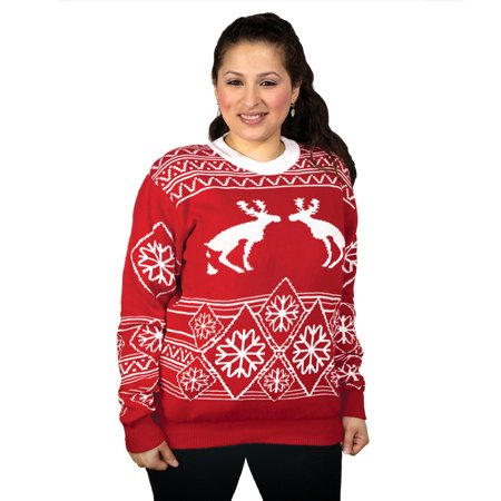 FunQi Gifts Men's Pooping Moose Ugly Christmas Sweater Medium Red by FunQi Gifts (Image #1)