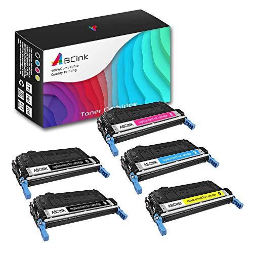ABCink 643A Q5950A Q5951A Q5953A Q5952A Toner Cartridge Compatible for HP Color Laserjet 4700n Printer Toner Cartridge,5 Pack(2 Black,1 Cyan,1 Yellow,1 Magenta)