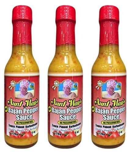 Aunt Mays Bajan Pepper Sauce Hot 6 oz (Pack of 3)