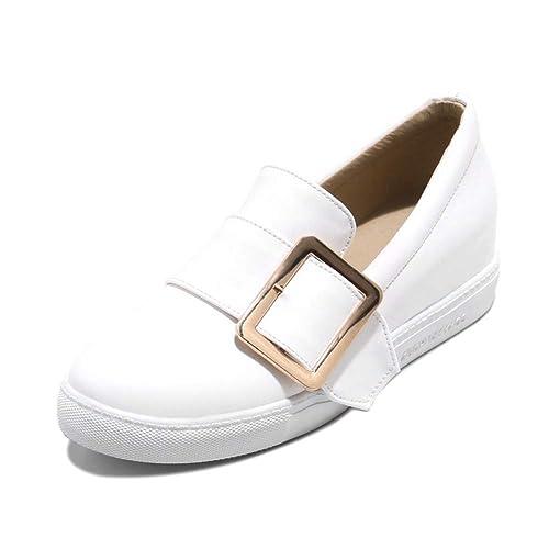 Mocasines con Plataforma De Mujer Patentes Planas Hebilla De Cuero Correa ResbalóN En CuñAs Zapatos De Vestir Informales: Amazon.es: Zapatos y complementos