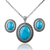 Mall of Style Turquoise Necklace and Earrings for Women - Oxidized Jewelry Set