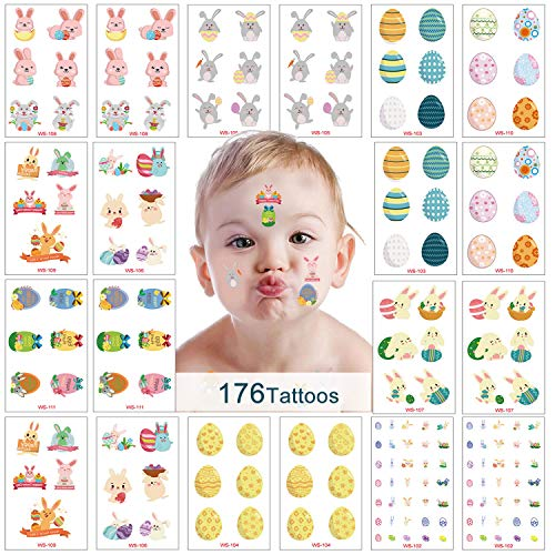 Easter Egg and Bunny Temporary Tattoos for Kids, 20 Sheets Kids Cartoon Tattoos Stickers for Easter Basket Stuffers Party Decorations
