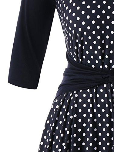 Femmes Confortables Surdimensionné Manches 3/4 Taille Smockée Robe Imprimée À Pois Comme Image