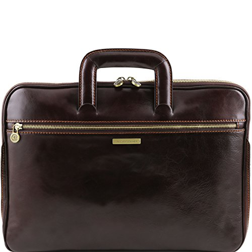 Tuscany Leather Caserta Document Leather briefcase Dark Brown by Tuscany Leather