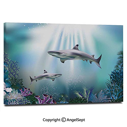 Modern Gallery Wrapped Realistic Illustration Wild Sharks and Plants Corals Seaweed Aquatic Ocean Life Pictures on Canvas Wall Art Ready to Hang for Living Room Kitchen Home Decor,12