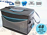 POLAR PACK Extra Large 48 Can Collapsible Cooler Bag Soft Portable Insulated Picnic Bag Outdoor Indoor Travel Lunch Bag for Camping Hiking Events School Travel Concerts & Sports (Black/Char/Turq)