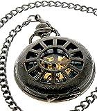 Steampunk Black Copper Case Skeleton Mechanical Pendant Pocket Watch Fob PL01