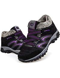 Women's Hiking Shoes, High Top Sneaker Winter Warm Hook Loop Snow Shoes Fur Lining Suede Ankle Bootie