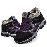 gracosy Women's Hiking Shoes, High Top Sneaker Winter Warm Hook Loop Snow Shoes Fur Lining Suede Ankle Bootie Black+Purple 7 M US