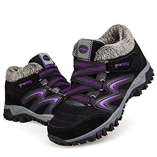 gracosy Women's Hiking Shoes, High Top Sneaker Winter Warm Hook Loop Snow Shoes Fur Lining Suede Ankle Bootie Black+Purple 10 M US