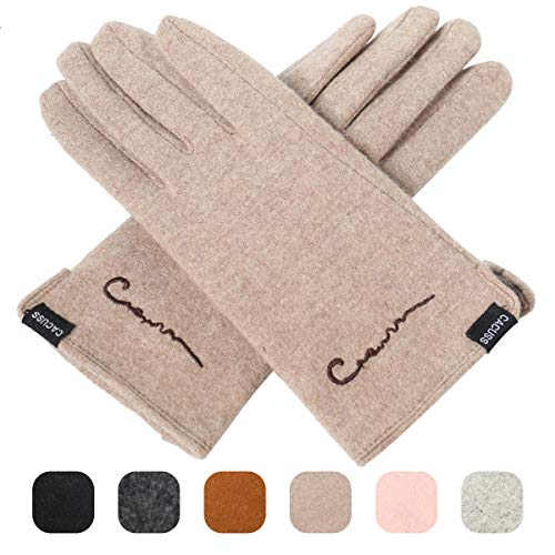 - CACUSS Women's Winter Wool Knit Gloves Touchscreen Texting Finger Tips with Warm Fleece Lining (Light tan)