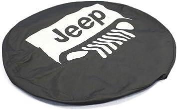82209953AB Mopar Jeep Wrangler White Jeep Logo Black Spare Tire Cover