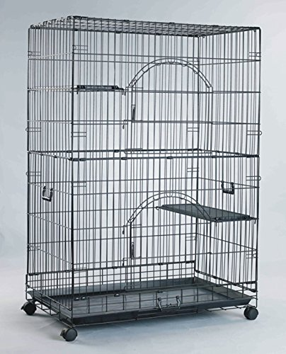Homey-Pet-36-Three-Tiers-Cat-Cage-w-Pull-out-tray-Sleeping-Platform-and-CastersCT-P3W