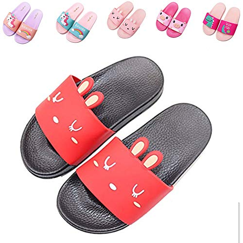 Red Ladybug House - Kids Summer Slide Sandals Non-Slip Beach Water Shoes Pool Bath Slippers Sport Slides for Boys Girls(Toddler/Little Kid) red bunny30