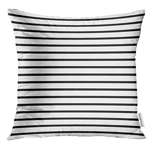 (Emvency Throw Pillow Cover Colorful Stripe Thin Black and White Striped That is Repeats Small Decorative Pillow Case Home Decor Square 18x18 Inches Pillowcase)