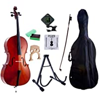 D'Luca MC100-1/2 Meister Student Cello 1/2 Package with Free Stand, Bag, Strings, Chromatic Tuner, Rosin and Bow